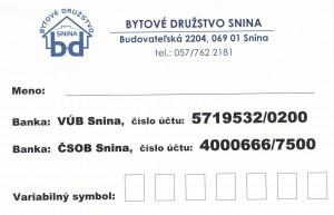 Karticčka pre platbu vo VÚB a ČSOB